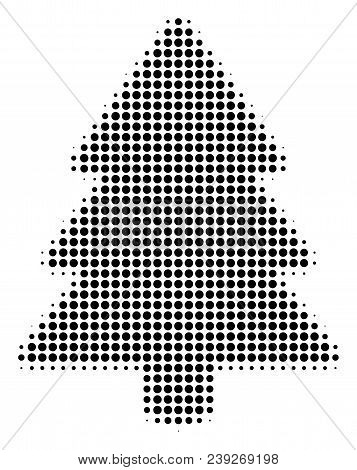 Pixelated Black Fir-tree Icon. Vector Halftone Mosaic Of Fir-tree Icon Composed With Spheric Pixels.