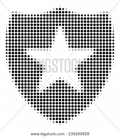 Pixelated Black Guard Icon. Vector Halftone Mosaic Of Guard Pictogram Made From Circle Dots.
