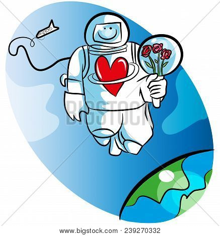 Cartoon Space Man And Love. Illustration Of Astronaut Waiting For His Darling. Space Man Or Astronau