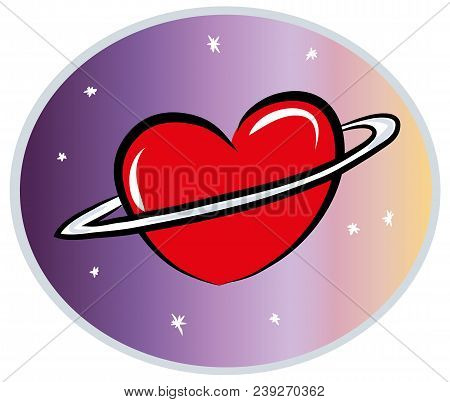Love World And Heart Concept. Illustration Of Love Planet. Illustration Of Loving The World, The Glo