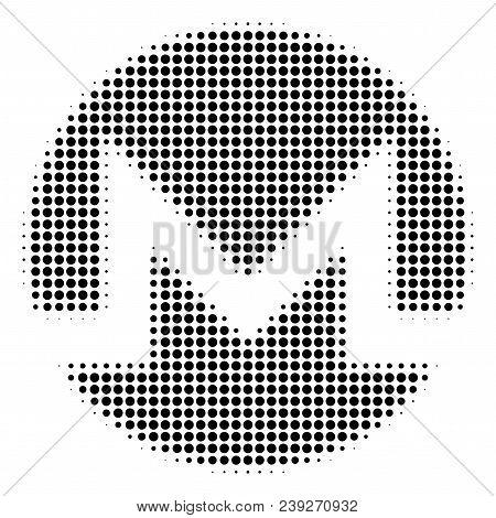 Dot Black Monero Currency Icon. Vector Halftone Concept Of Monero Currency Icon Constructed Of Circl