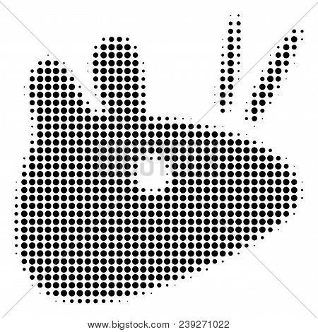 Dotted Black Mouse Head Icon. Vector Halftone Collage Of Mouse Head Icon Organized Of Round Pixels.