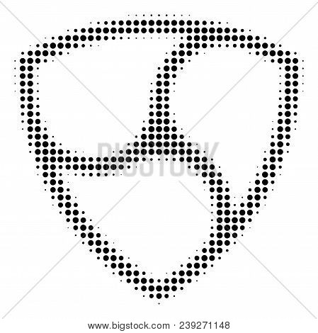 Pixel Black Nem Currency Icon. Vector Halftone Pattern Of Nem Currency Symbol Created From Round Ite