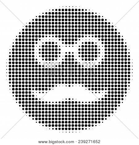 Pixelated Black Pension Smiley Icon. Vector Halftone Composition Of Pension Smiley Symbol Created Of