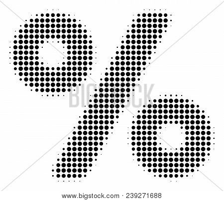 Dot Black Percent Icon. Vector Halftone Composition Of Percent Icon Done From Round Pixels.