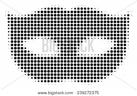 Pixel Black Privacy Mask Icon. Vector Halftone Pattern Of Privacy Mask Symbol Constructed From Round