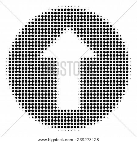 Dotted Black Rounded Arrow Icon. Vector Halftone Pattern Of Rounded Arrow Icon Constructed From Roun