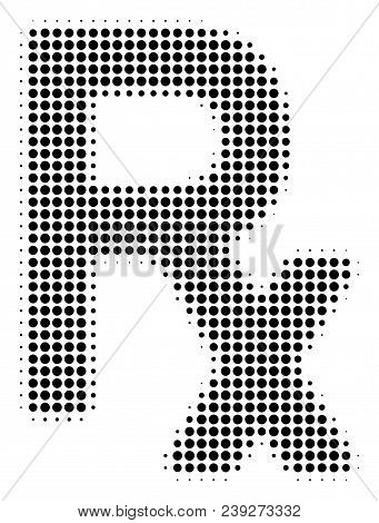 Dotted Black Rx Symbol Icon. Vector Halftone Concept Of Rx Symbol Symbol Made With Round Points.