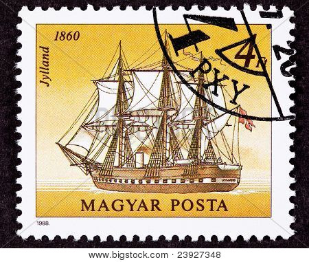 Canceled Hungarian Postage Stamp Jylland Steam And Sail Danish Warship