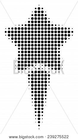 Pixel Black Starting Star Icon. Vector Halftone Mosaic Of Starting Star Pictogram Designed With Sphe