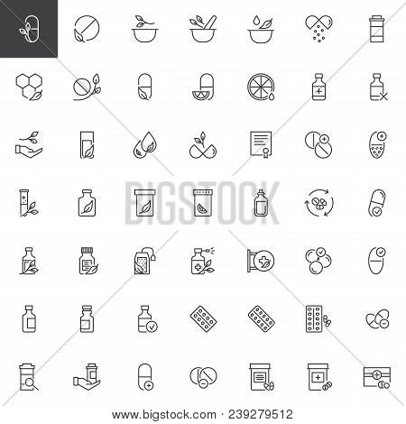 Medicaments Outline Icons Set. Linear Style Symbols Collection, Line Signs Pack. Vector Graphics. Se