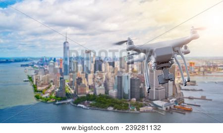 multicopter drone flying over lower Manhatten, New York City