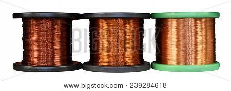 Three Different Rolls Of Copper Wire