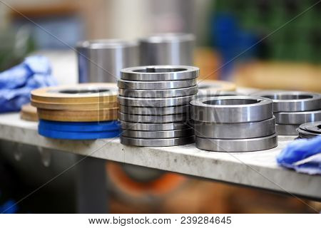 Close Up View Of Metal Parts In Factory