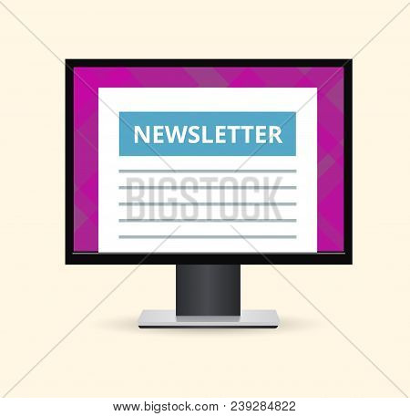 Conceptual Illustration Of Computer With E-mails. Open The Email On Your Computer. Vector Envelope W