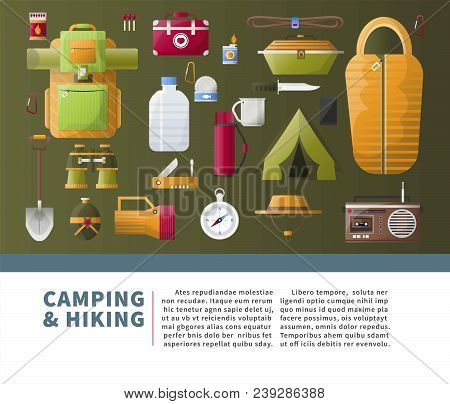 Camping And Hiking Accessories For Scout Camp Adventure Poster. Vector Camp Tent And Sleeping Bag, M