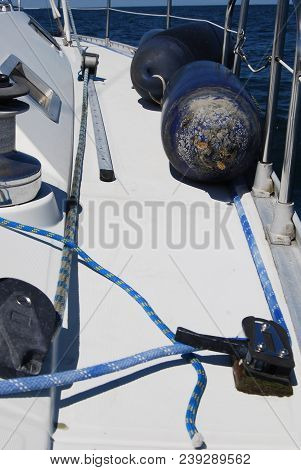 Luxury Yacht Cabin Front Deck Of Boat Deck And Railing Sailboat Detailed Parts