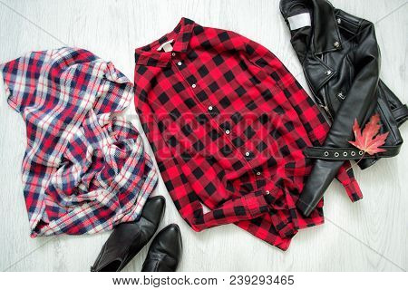 Checkered Shirt, Black Jacket, Checkered Scarf And Shoes. Fashionable Concept