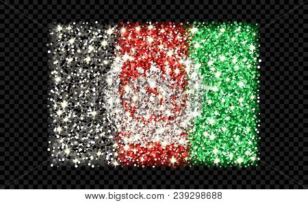 Islamic Republic Of Afghanistan Sparkling Flag. Icon With Afhan National Colors With Glitter Effect