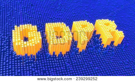 Eu Gdpr Data Glowing Yellow Stars Forming Gdpr On Blue Background. 3d Illustration