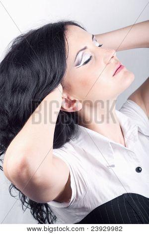 Beautiful Girl With Makeup Looking Artful.