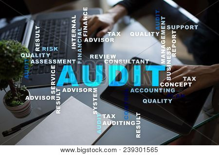 Audit Business Concept Auditor Compliance. Virtual Screen Technology. Words Cloud