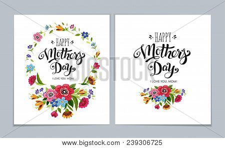 Template Happy Mother's Day Cards On Light Blue Background. Lettering Happy Mothers Day In Flower Fr