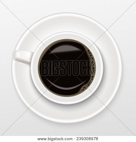 Realistic Of Hot Black Coffee In A White Cup Of Coffee On Saucer With Black Coffee, Top View And Iso