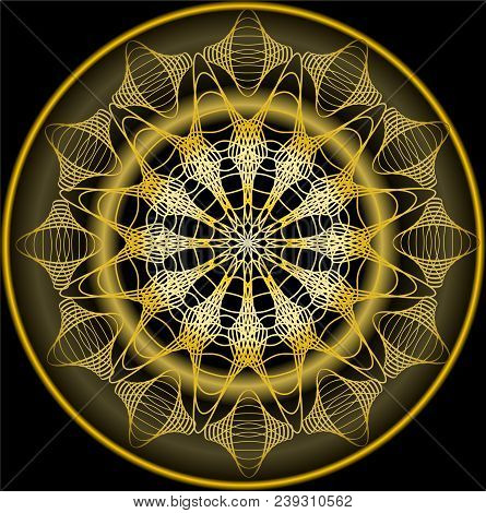 Mandala In Gold For Zen Obtaining. Luxurious Filigree Embroidery Patterns. Vector Eps 10