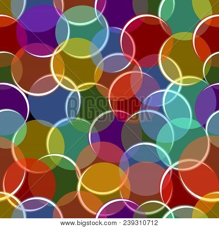 Colorful Variegated Seamless Background With Semitransparent Circles, Bubbles With White Highlights,