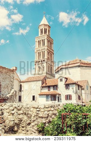 Cathedral Of Saint Domnius In Split, Croatia. Religious Architecture. Travel Destination. Yellow Pho