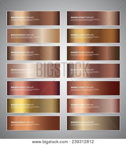 Set Of Bronze Gradient Vector Banners Templates Or Website Headers. Vector Design For Your Banners,