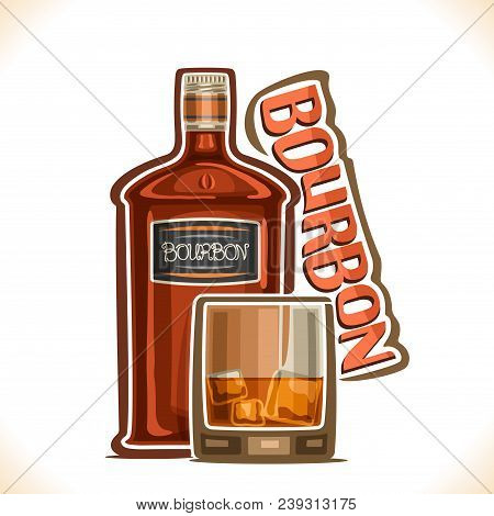 Vector Illustration Of Alcohol Drink Bourbon, Old Brown Bottle Of Premium Corn Whiskey, Half Full Tu