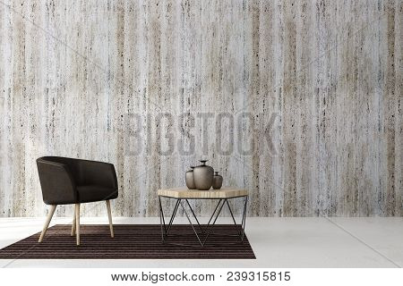Minimalistic Living Room Interior With Copy Space On Concrete Wall And Furniture. Mock Up, 3d Render