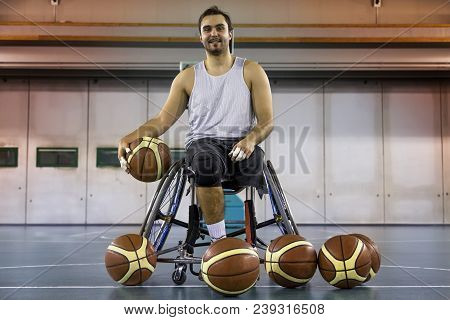 Disabled Sport Men Relaxation While Playing Basketball