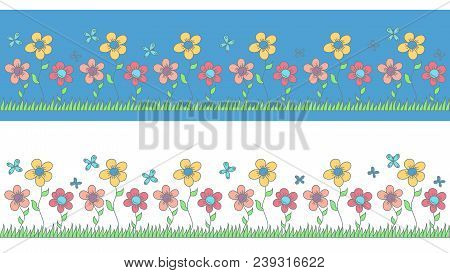 Children's Pattern Of Flowers To Decorate A Children's Room, Clothes Or Accessories For Children. Ve