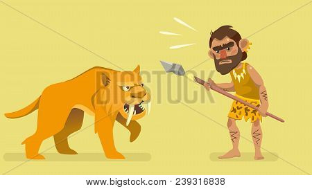 situation meeting primitive hunter and saber-toothed tiger. illustration for kids book. vector poster
