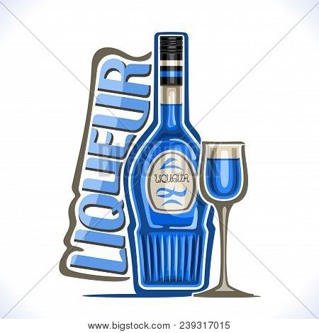 Vector Illustration Of Alcohol Drink Сuracao Liqueur, Poster With Blue Bottle Of Hawaiian Sweet Booz