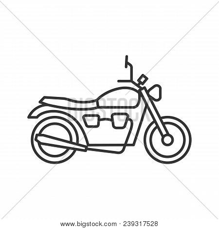 Motorbike Linear Icon. Thin Line Illustration. Motorcycle. Contour Symbol. Vector Isolated Outline D