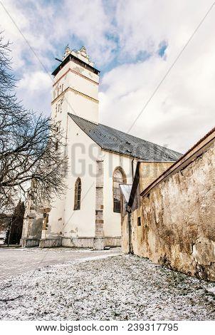 Basilica Of The Holy Cross In Kezmarok City, Slovak Republic. Religious Architecture. Travel Destina
