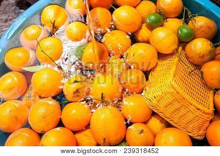 Orange Background, Group Of Fresh Orange, Closeup Of Orange. Nafil Orange.
