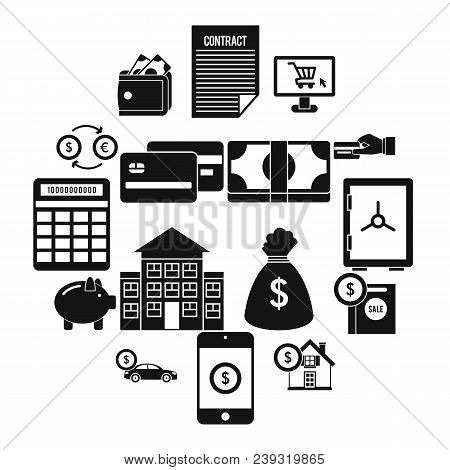Credit Icons Set In Simple Style Isolated Vector Illustration
