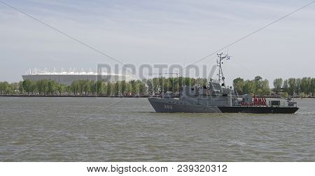 Rostov-on-don,russia - May 05,2018: The Warship That Arrived At The Parade In Honor Of The Century O