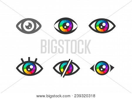 Eye Icon, Eye Symbol. Flat Eye Sign Vector. Colorful Eye Icons