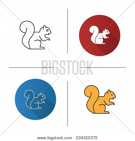 Squirrel Icon. Flat Design, Linear And Color Styles. Chipmunk. Isolated Vector Illustrations