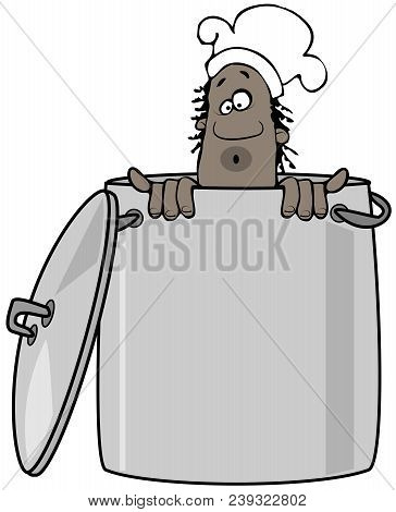 Illustration Of A Black Chef Peering Out From Inside A Giant Stockpot.