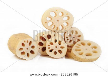 Lotus Root Organic On A White Background