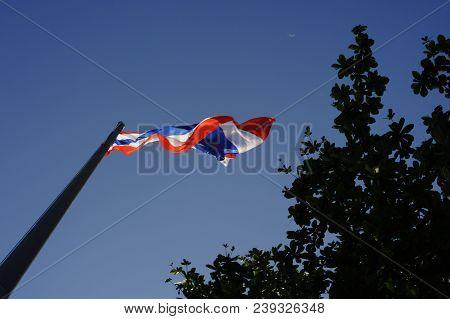 Thai Flag In The Blue Sky ,flag Of Thailand