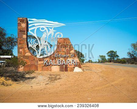 Kalbarri, Western Australia - March 6, 2018: Welcome To Kalbarri Sign, Western Australia