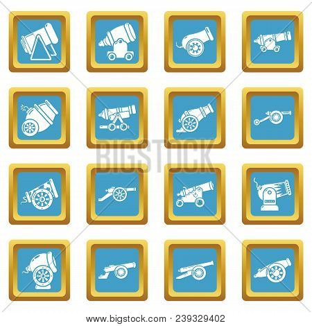 Cannon Retro Icons Set Vector Sapphirine Square Isolated On White Background